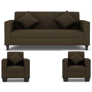 Gioteak Brown Fabric Modern 3+1+1 Sofa Set