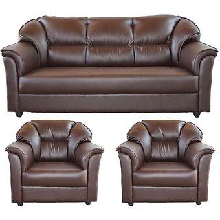 Gioteak Brown Leatherette 3+1+1 Glascow Sofa Set