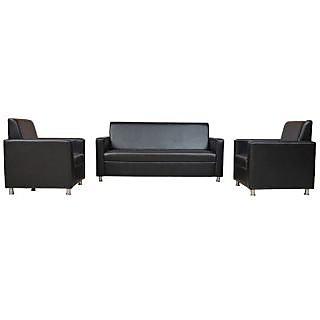 Gioteak Nano Leatherette Sofa Set (3 + 1 + 1) Seater in Black Colour
