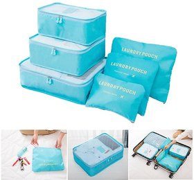 6pcs Packing Cubes Portable Travel Storage Bag Organiser Luggage Suitcase Pouches Luggage Organiser Random Color-TRLDBAG