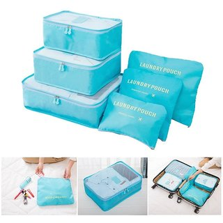 6pcs Packing Cubes Portable Travel Storage Bag Organiser Luggage Suitcase Pouches Luggage Organiser Random Color-TRLDBAG