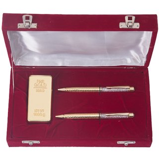 NINE10 2 German Silver Gold Plated Ball Pen And Gold Plated Gold Bar Paper Weight Gift Set With VELVET Gift Box