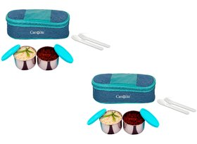 Sling  2 Container lunchbox 400 Ml blue and green Buy One get one Free