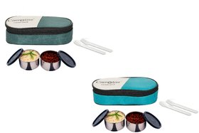 Carrolite Easy Carry 2 Black container Lunchbox Green and Mehndi Buy 1 get 1 Free