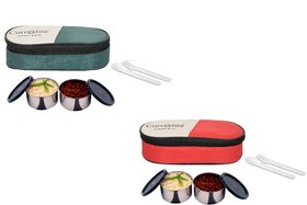 Carrolite Easy Carry 2 Black container Lunchbox Mehndi and Red Buy 1 get 1 Free