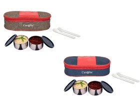 Carrolite Easy Carry 2 Black container Lunchbox Red+Brown  Blue+Red Buy 1 get 1 Free