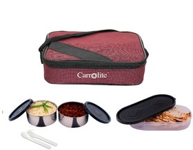 Carrolite Easy Carry Square Mattee 2 Container + 1 Chapati Tray lunchbox Maroon