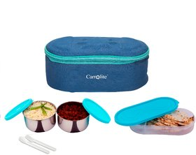 Sling Deluxe 3 container Lunchbox 750 Ml Blue