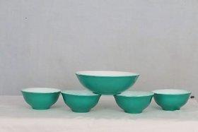 adaraforever Exclusive Metalic Radiant Green  White Opal Glass set of 1 Big Bowl  4 Medium Bowl  set of Total 5 pcs