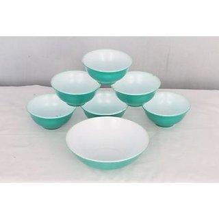 adaraforever Exclusive Metalic Radiant Green  White Opal Glass set of 1 Big Bowl  6 Medium Bowl  set of Total 7 pcs