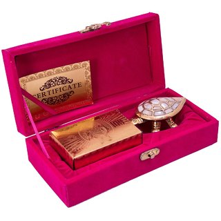 NINE10 24K Gold Playing Cards And Feng Shui Tortoise Gift Set With Velvet Gift Box