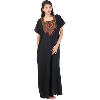 b05b13e5df Buy Valencia Sleepwear Women s Embroidery Night Gown Nighty Maxi Nightwear  Lizzybizzy cotton night wear Online - Get 40% Off