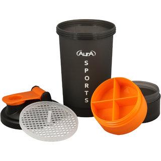 Aura Sport Shaker Bottle 600Ml (Orange Black)