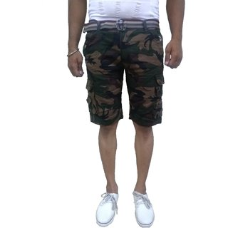 Timbre Men Army Print Camouflage Cargo Shorts with 9 Pockets Camouflage Shorts for Men Boys With Free Waist Belt
