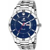 Espoir Blue Round Dial Silver Stainless Steel Strap Analog Watch For Men - Nail0507