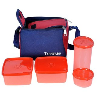 Topware Plastic Lunch Box - Orange (2 Containers 1 Glass 1 Pickle Container)