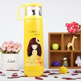 Hot Cold Yellow Vacuum bottle with cup