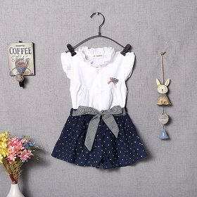 Zifuu white top and blue skirt