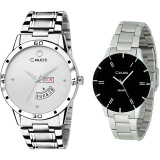 d9167d831 Crude Couple Combo RG2525 watch dial color silver black With Stainless  Steel chain for Men's Women's