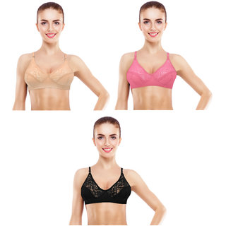 fb7a5a0a38cbb Buy Avyagra Presents Cotton Blend Non Padded Women Bra-(Set of 3 Bras Beige