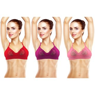 Avyagra Presents,Cotton Blend,Non Padded Women Bra-(Set of 3 Bras- BabyPink,Red,Purple)