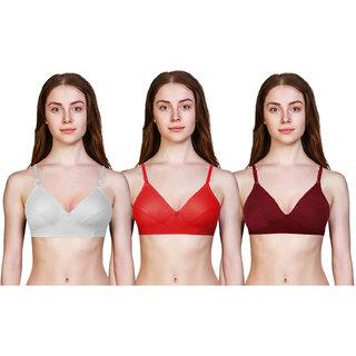 Avyagra Presents,Cotton Blend,Non Padded Women Bra-(Set of 3 Bras- White,Red,Maroon)