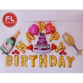 Crazy Sutra Happy Birthday Alphabet Letter Foil Balloon With Champagne Bottle And Glass