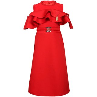 Arshia Fashions Girls Red Party Wear Dress
