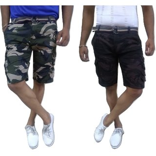 Men Army Print Camouflage Shorts Combo Pack Of 2 - 9 Pockets And 2 Free Waist Belts