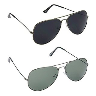 HRINKAR Men's Black Mirrored Aviator Sunglasses