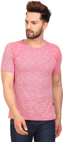 PAUSE Red Solid Cotton Round Neck Slim Fit Half Sleeve Men's T-Shirt