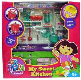 Shribossji Dora Kitchen Set - Hi Tech Kitchen Toy with Many Accessories - Modern Explorer Kitchen