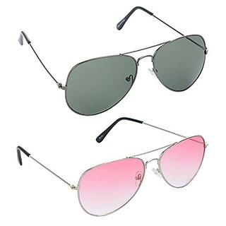HRINKAR Men's Green Mirrored Aviator Sunglasses