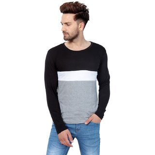 PAUSE Multicolor Solid Cotton Round Neck Slim Fit Full Sleeve Men's T-Shirt