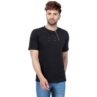 f7a3d99bac40e Buy PAUSE Black Solid Cotton Round Neck Slim Fit Half Sleeve Men s T-Shirt  Online - Get 64% Off