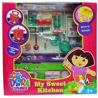 Shribossji Dora Kitchen Set - Hi Tech Kitchen Toy with Many Accessories - Modern Explorer Kitchen