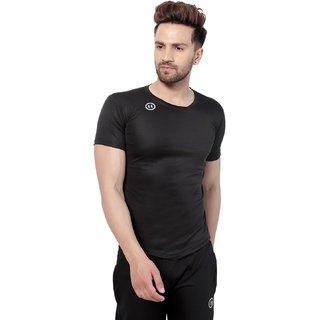 PAUSE Black Solid Cotton Lycra Round Neck Slim Fit Half Sleeve Men's T-Shirt