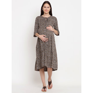 fd40c305910 Buy Mine4Nine Women s Rayon Maternity Midi Dress (Dark Brown) Online - Get  58% Off
