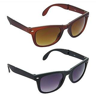 HRINKAR Men's Brown Mirrored Wayfarer Sunglasses