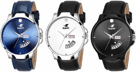 Espoir Day And Date Combo Of 3 Analogue Multicolor Dial