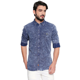 Jeaneration Blue Cotton Full Sleeved Self Design Shirt for Men