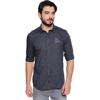 Jeaneration Grey Solid Cotton Spread Collar Shirt for Men