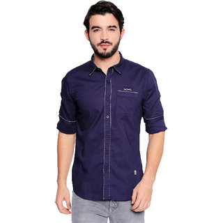 Jeaneration Navy Blue Solid Cotton Full Sleeves Shirt for Men
