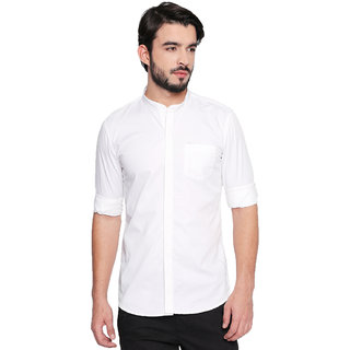 Jeaneration White Cotton Mandarin Collar Shirt for Men