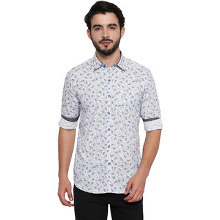 Jeaneration Sky Blue Cotton Printed Shirt for Men