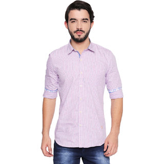 Jeaneration Pink Cotton Checks Spread Collar Shirt for Men
