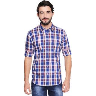 Jeaneration Blue Cotton Checks Casual Slim Fit Shirt for Men