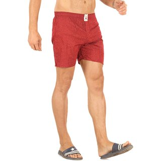 Mr. Stag Men's Red Cotton Printed Boxer