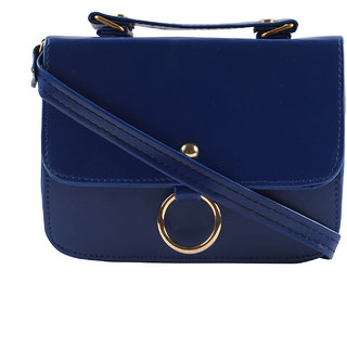 Women Casual Royal Blue leatherette Sling Bag