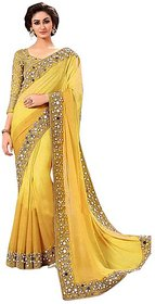 Mastani Yellow Georgette Embroidered Casual Saree With Blouse